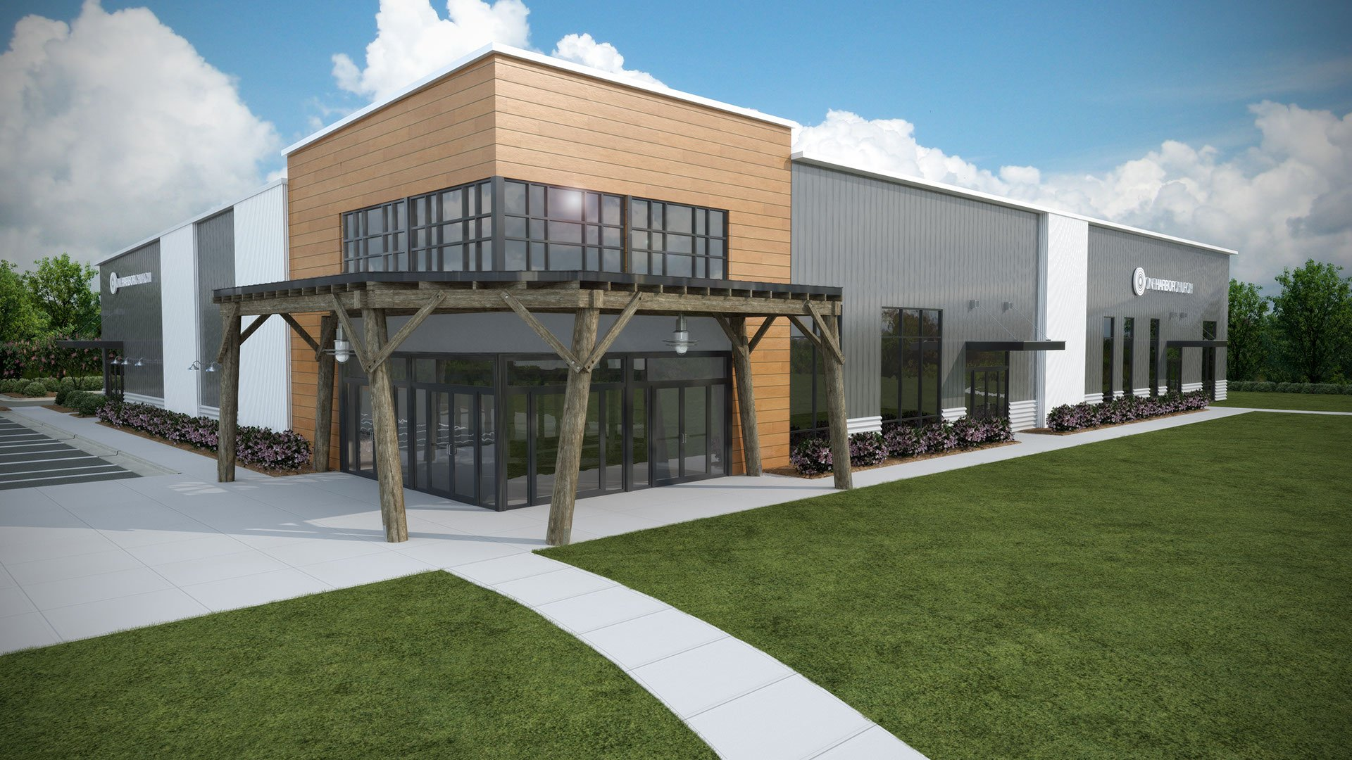 3D exterior rendering of a contemporary church for a rezoning request