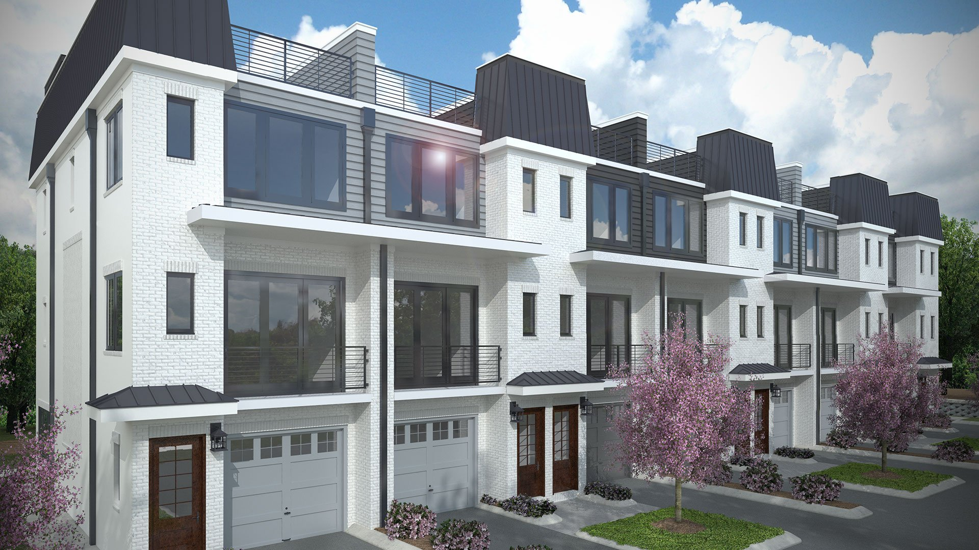 a 3d rendering of white brick modern town homes for real estate marketing purposes