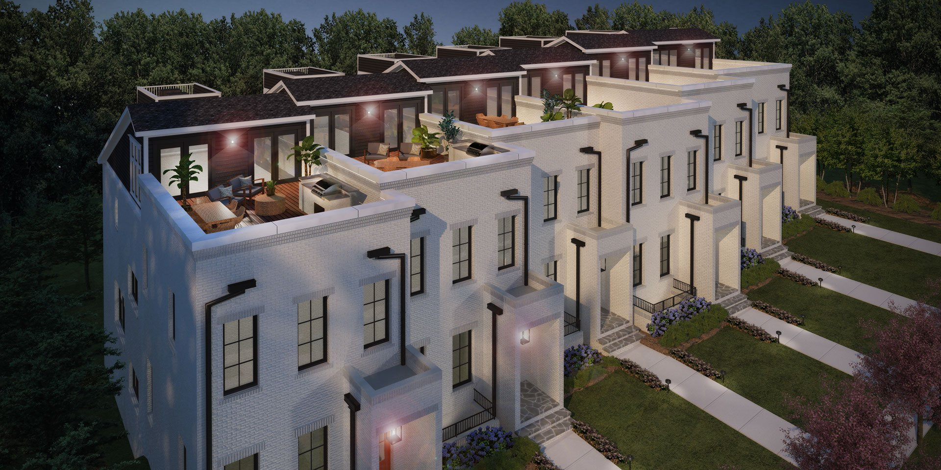 an aerial 3d rendering of white modern townhomes made for the developer and realtor