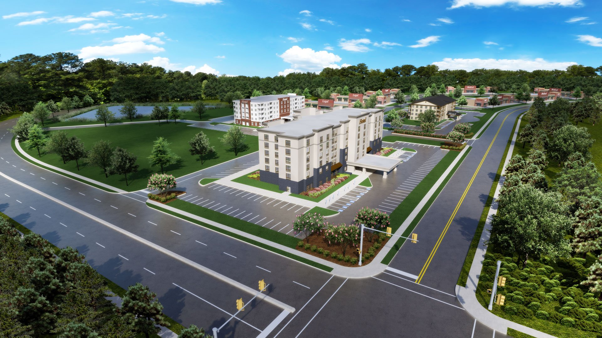 an artsts 3d aerial rendering of a new commercial real estate development